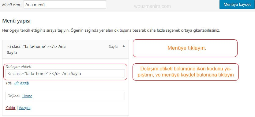 wordpress menu ikonu nasil eklenir