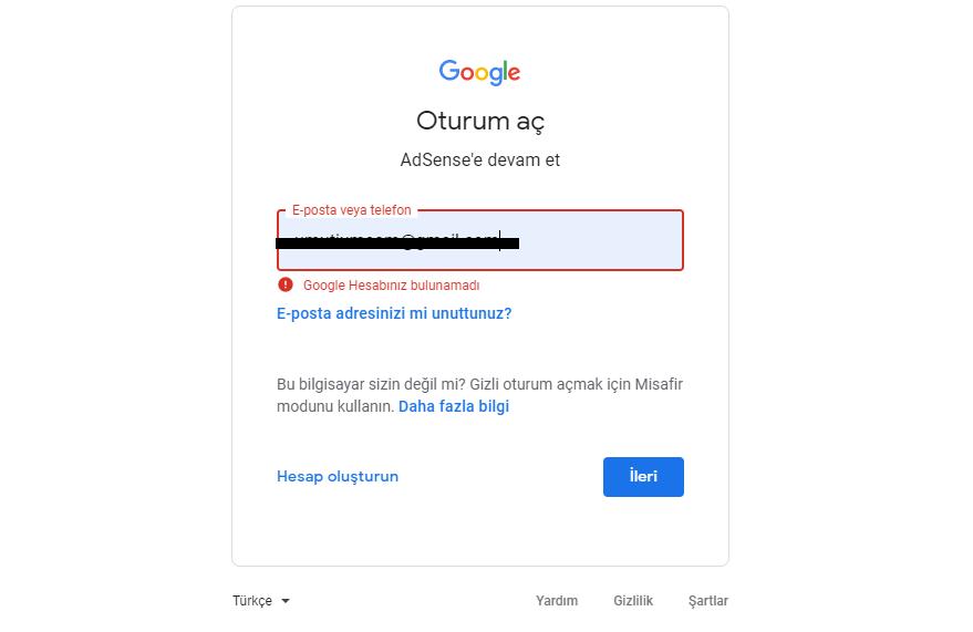 google hesabiniz bulunamadi hatasi