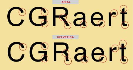 helvetica ile arial arasindaki farklar